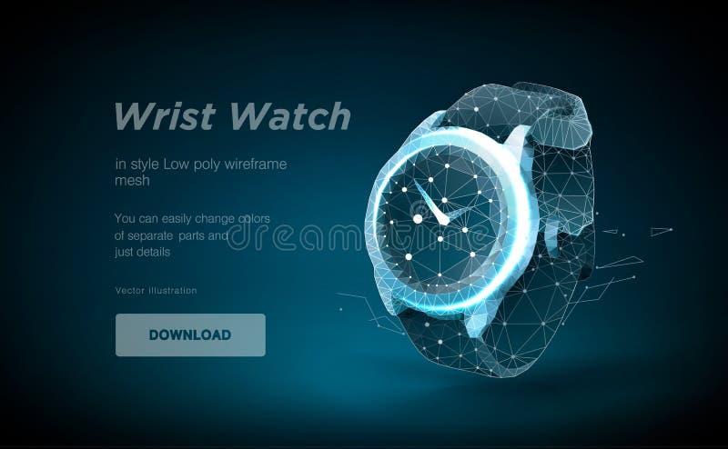 手表低多艺术例证 在蓝色背景隔绝的巧妙的手表 横幅或海报的oncept 皇族释放例证