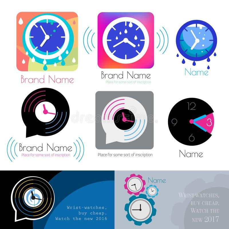 手表商标 时间象 时钟商标象 时钟剪影 皇族释放例证