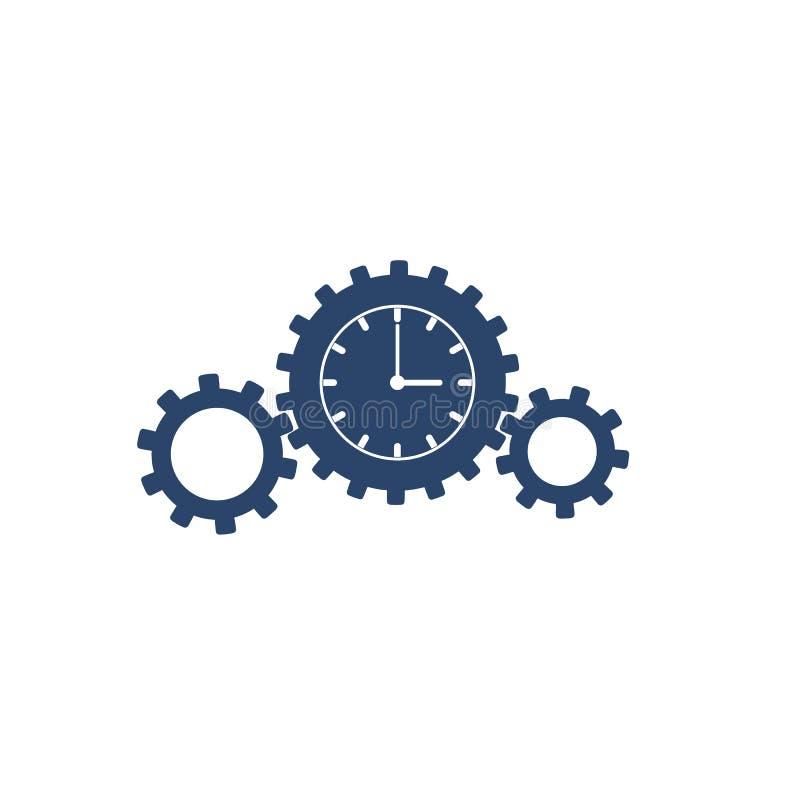 手表齿轮象形文字在白色背景隔绝的 向量例证