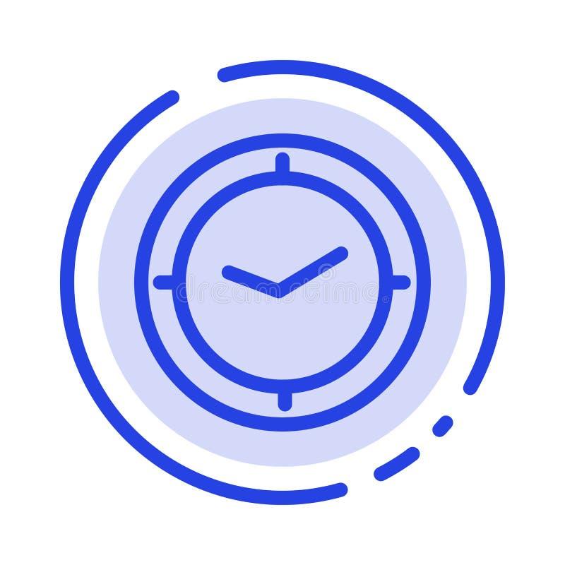 手表,时间,定时器,时钟蓝色虚线线象 向量例证