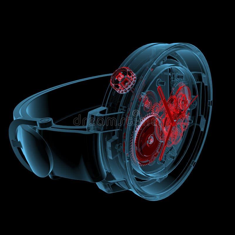 手表(3D X-射线红色和蓝色透明) 皇族释放例证