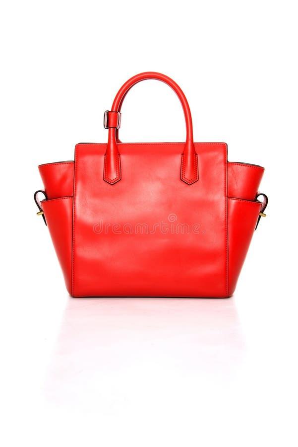 手袋夫人用皮革包盖红色 库存照片