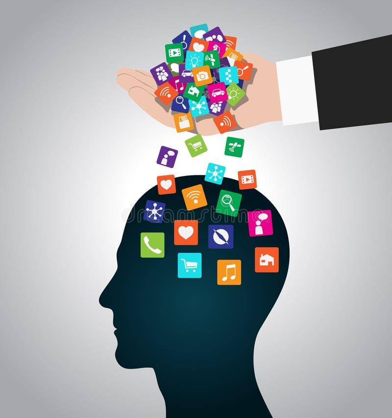 手装载象头 流动apps被安装入脑子,替换头脑 库存例证