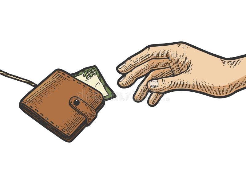手设法劫掠在绳索颜色剪影的钱包 皇族释放例证