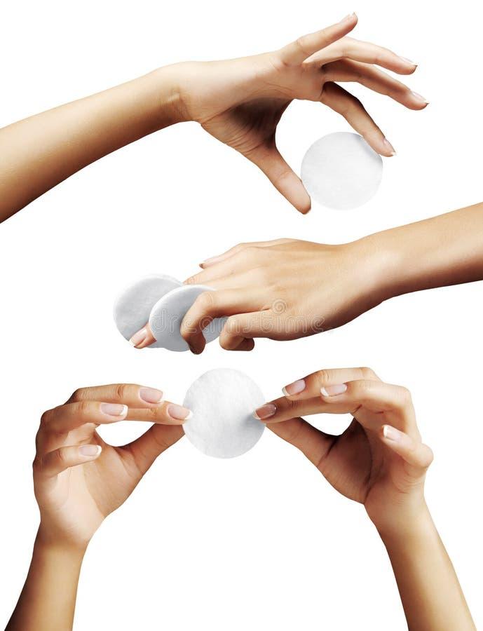 手设置了用妇女手和棉花cwab 免版税库存照片