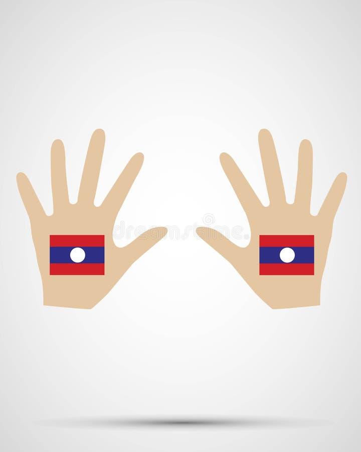 手设计老挝旗子 库存例证