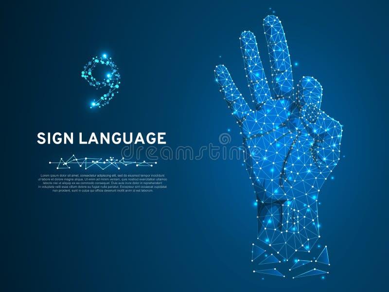 手语第九,刺激,多角形低多聋人民沈默通信字母表传染媒介 皇族释放例证