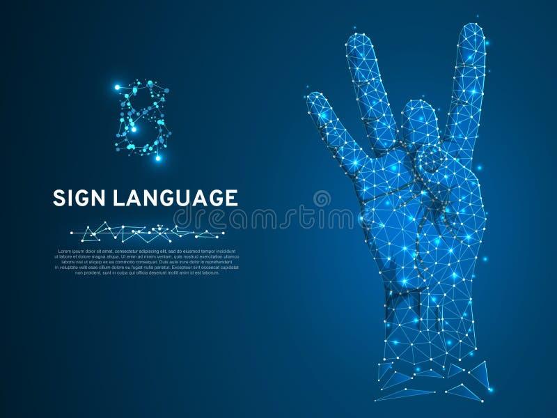 手语第八姿态,刺激,多角形低多聋人民沈默通信字母表传染媒介 皇族释放例证