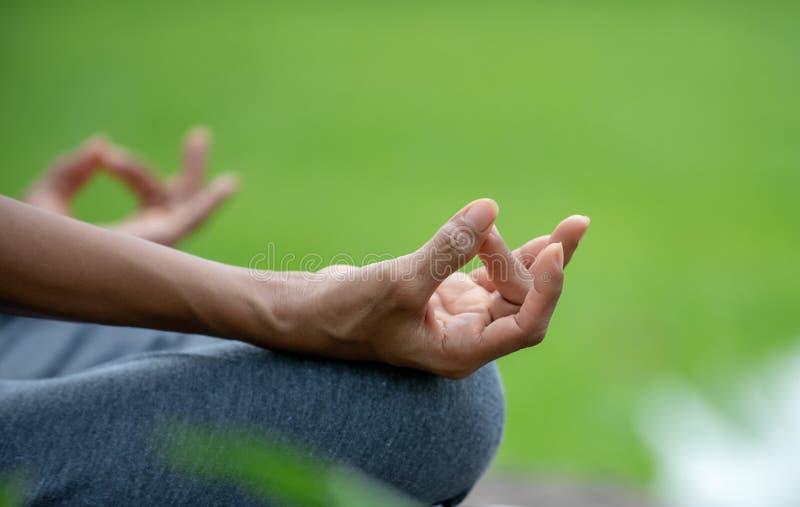 手资深女子瑜伽的关闭和莲花摆在凝思并且在自然公园放松 免版税库存照片