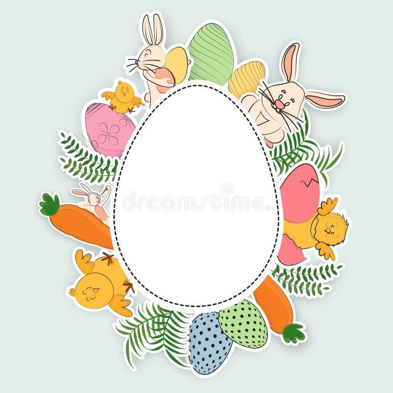 手逗人喜爱的动物报道的复活节彩蛋的凹道例证,在灰色背景的鸟 向量例证