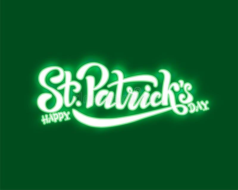 手速写了爱尔兰庆祝设计 愉快的圣帕特里克节略写法的传染媒介例证 啤酒节日字法 库存例证