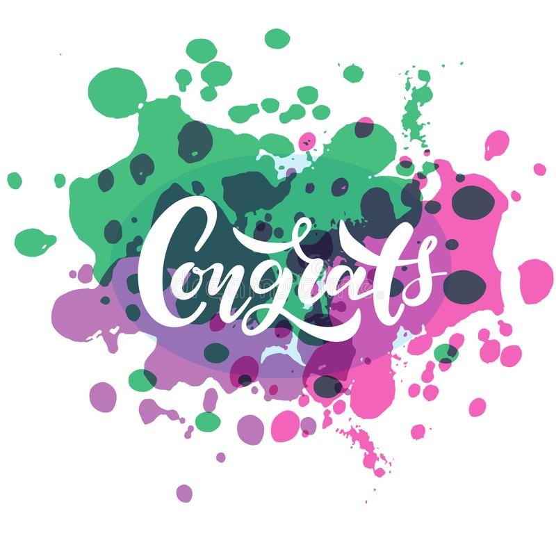 手速写了Congrats字法印刷术 拉长的艺术标志 诱导文本 库存例证
