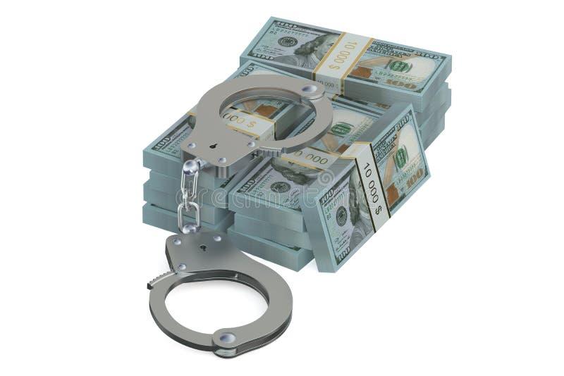 手铐和美元,罪行概念 向量例证