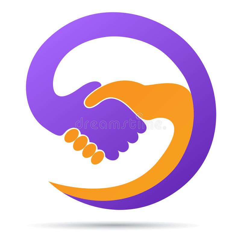 手震动的商标帮助一起合作信任友好的合作标志传染媒介象设计 向量例证