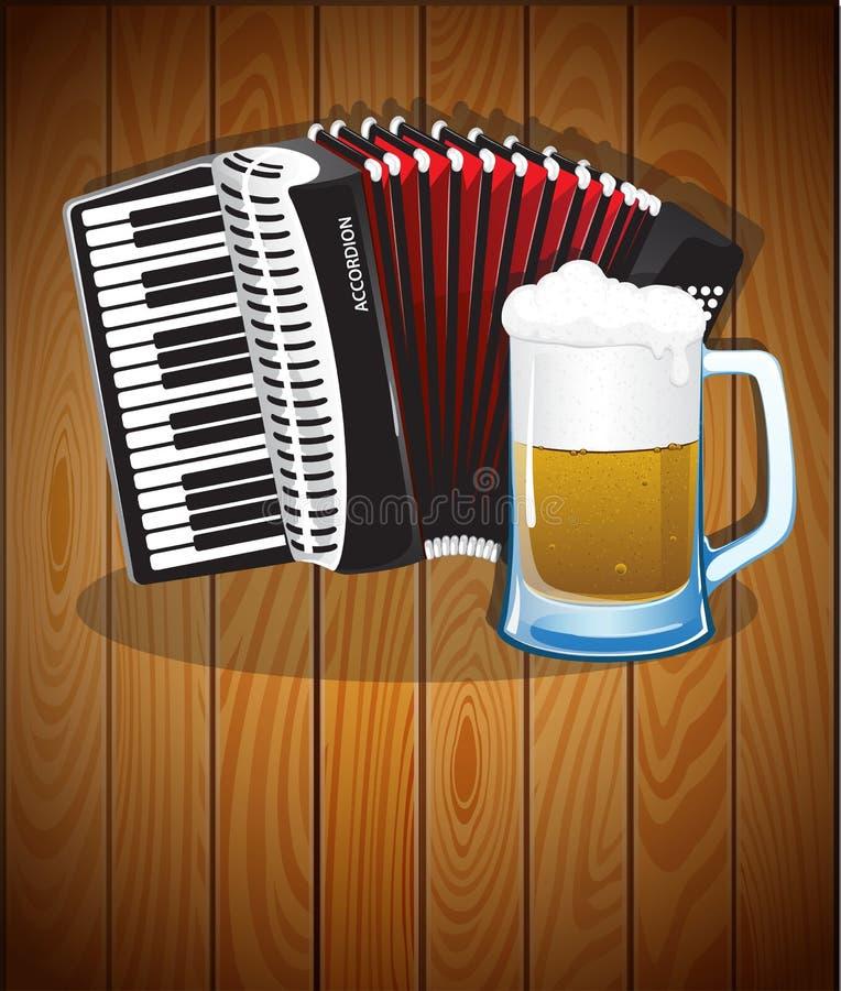手风琴和啤酒杯 皇族释放例证