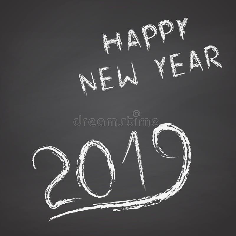 手黑板的书面新年快乐2019年 皇族释放例证