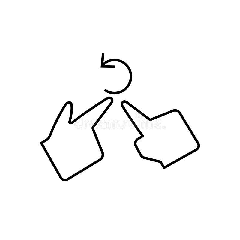 手,手指,转动象 腐败象的元素 在白色背景的稀薄的线象 向量例证