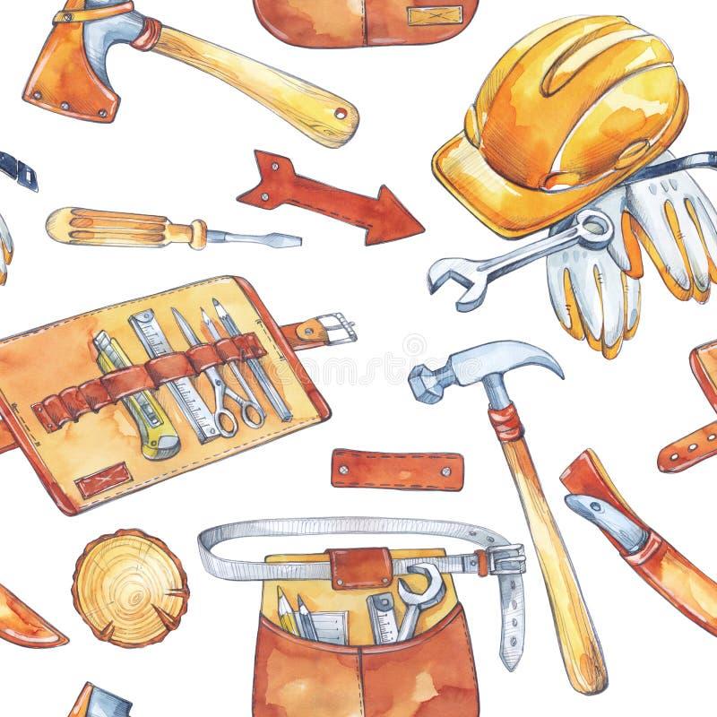 手画人` s工作例证 与木匠业工具的无缝的样式 水彩轴,刀子,锤子,盔甲图片