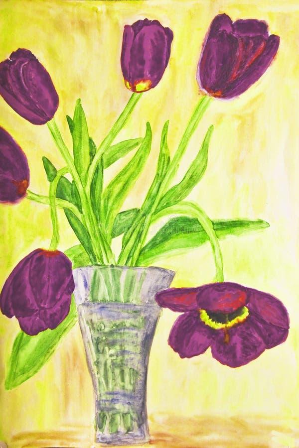 手画图片,在花瓶的郁金香 皇族释放例证