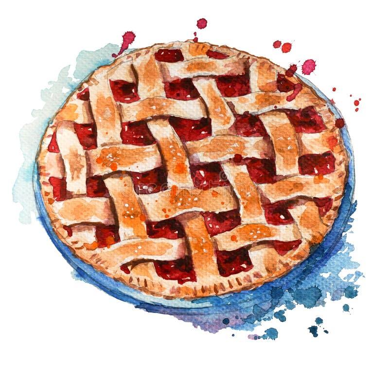手画家庭做的莓果饼 向量例证