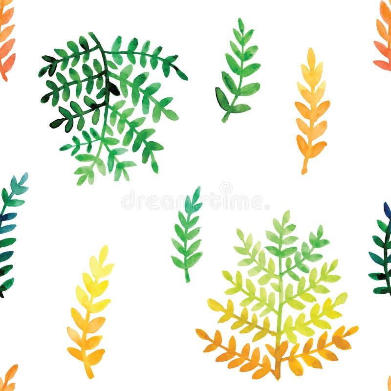 手画水彩离开无缝的花卉样式传染媒介背景 叶子和花植物的样式 皇族释放例证