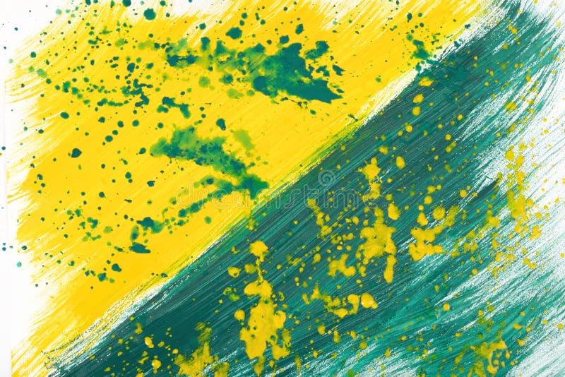 黄绿手画树胶水彩画颜料冲程涂抹纹理 免版税图库摄影