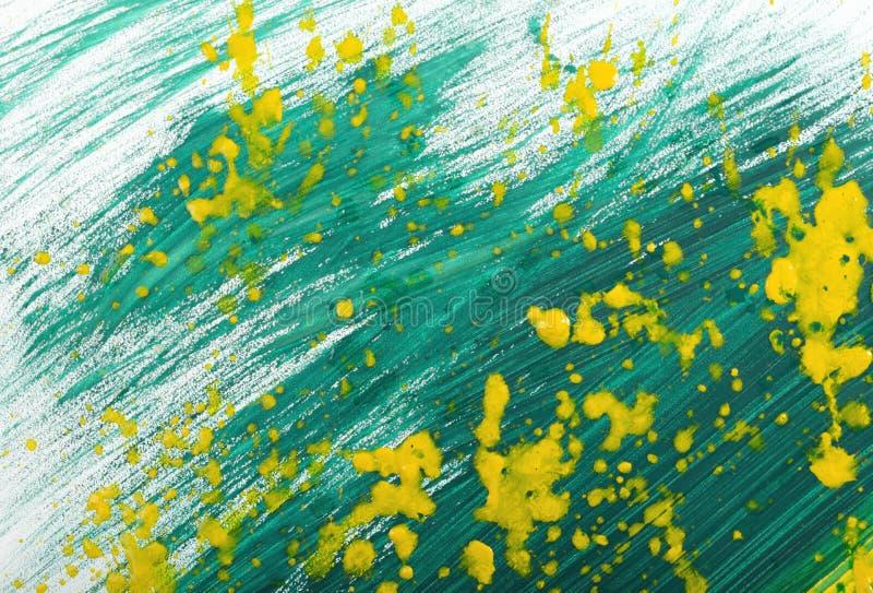 黄绿手画树胶水彩画颜料冲程涂抹纹理 免版税库存照片