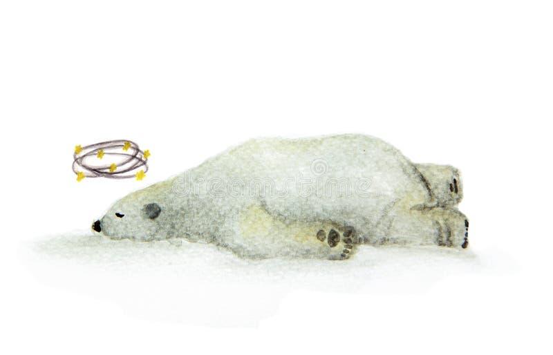 手画看见星,与circleing在头附近的黄色星的一头北极熊的水彩头昏眼花的熊 向量例证