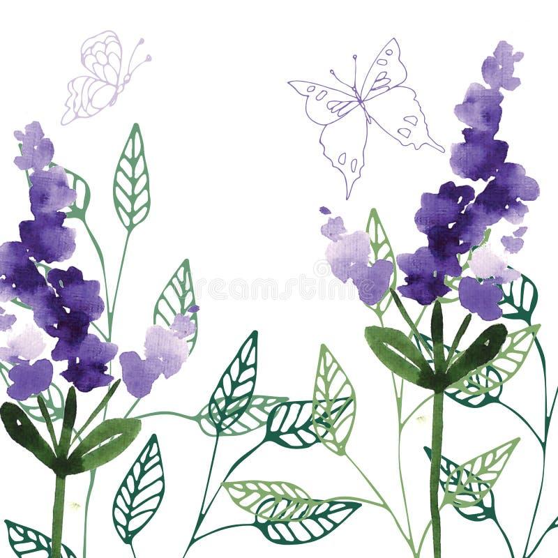 手画野花花卉样式 库存例证