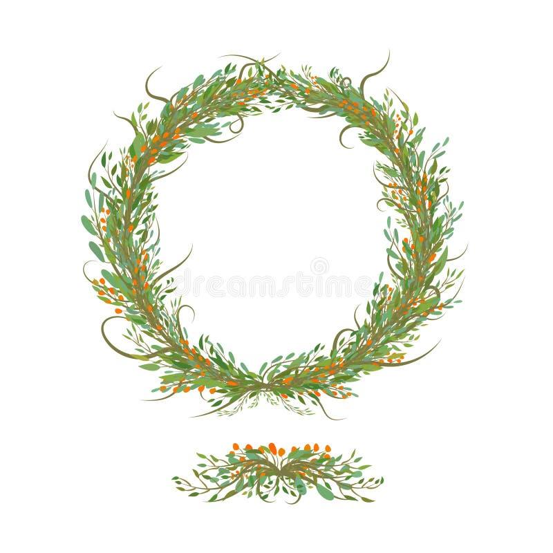 手wrtitten花和叶子圈子有bracnhes的 皇族释放例证