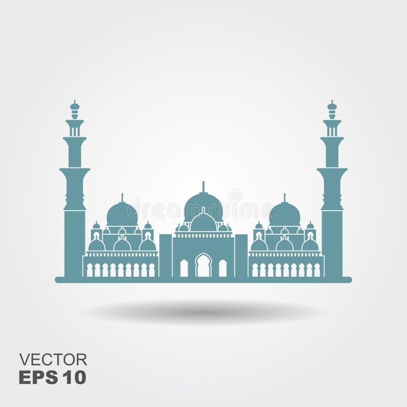 扎耶德回教族长盛大清真寺阿布扎比例证传染媒介平的设计  向量例证