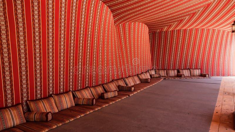扎耶德故宫博物院,beduin帐篷细节回教族长  艾因,阿拉伯联合酋长国 免版税库存照片