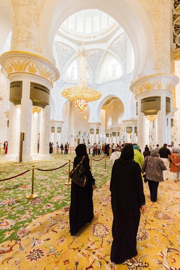扎耶德有阿拉伯几何装饰的Mosque Interior,阿布扎比的,阿拉伯联合酋长国伟大的大理石盛大清真寺回教族长 库存图片