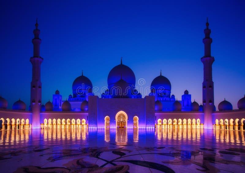 扎耶德Grand Mosque回教族长在阿布扎比 免版税库存图片