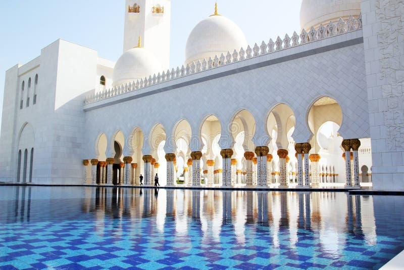 扎耶德Grand Mosque,阿布扎比,阿拉伯联合酋长国回教族长 库存图片