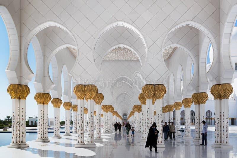 扎耶德Grand Mosque,阿布扎比,阿联酋回教族长 图库摄影