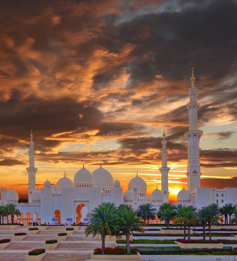 扎耶德Mosque回教族长在阿布扎比,阿拉伯联合酋长国 库存图片