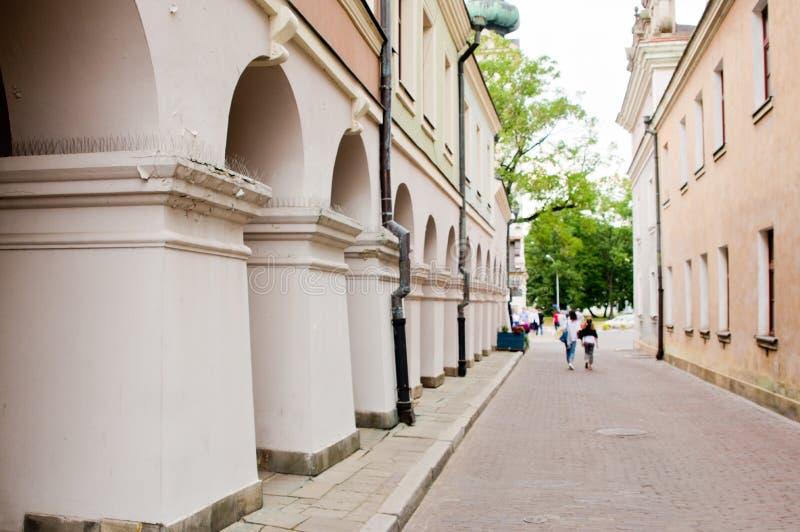 扎莫希奇波兰:与典型专栏的老镇大厦细节 免版税库存照片