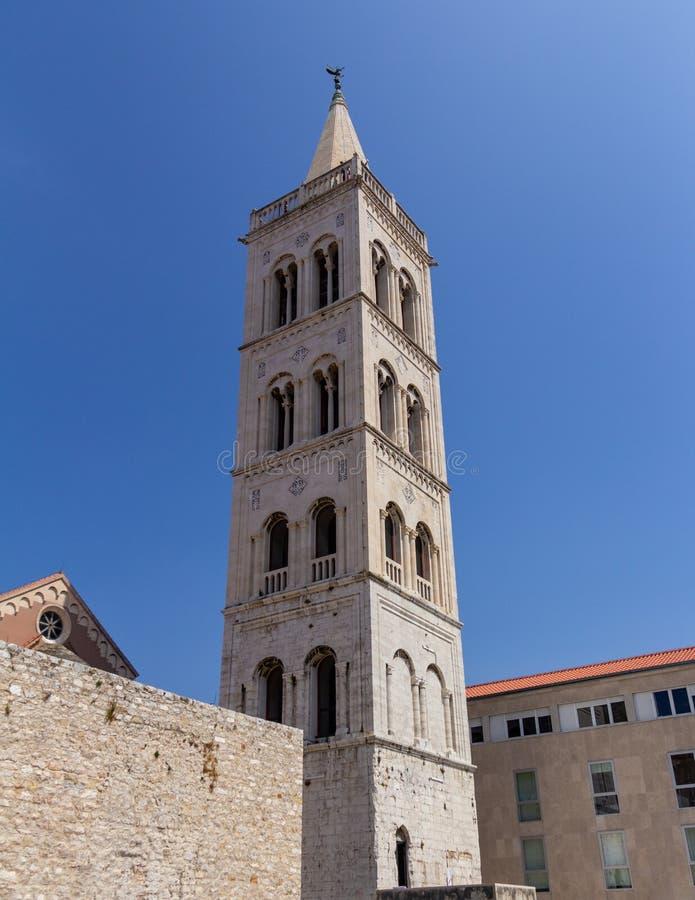 扎达尔大教堂belltower 库存照片