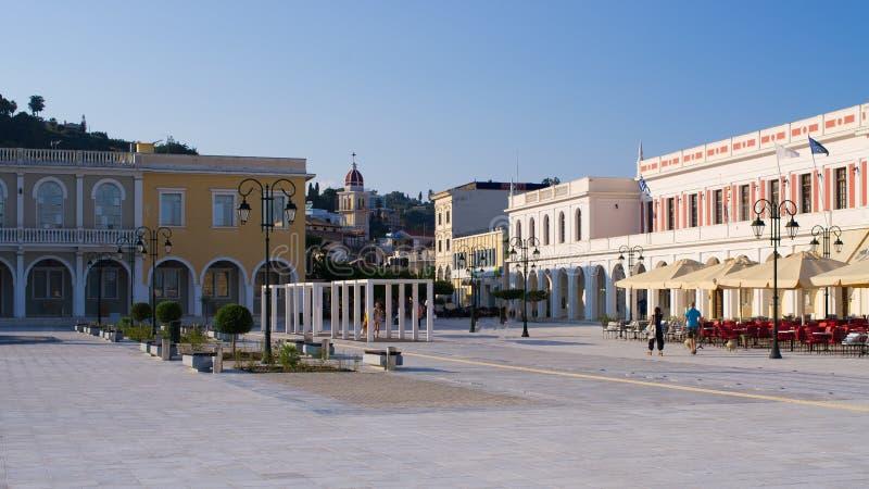 扎金索斯州,希腊镇中心  库存照片