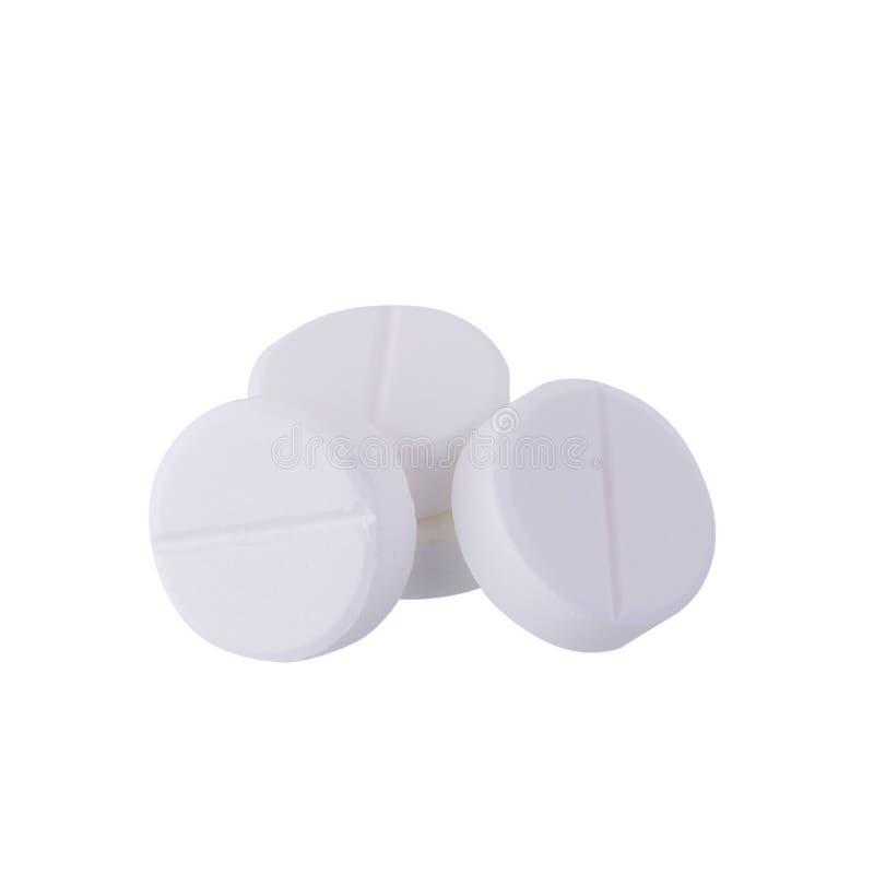 扑热息痛在白色背景隔绝的医学片剂 免版税库存图片