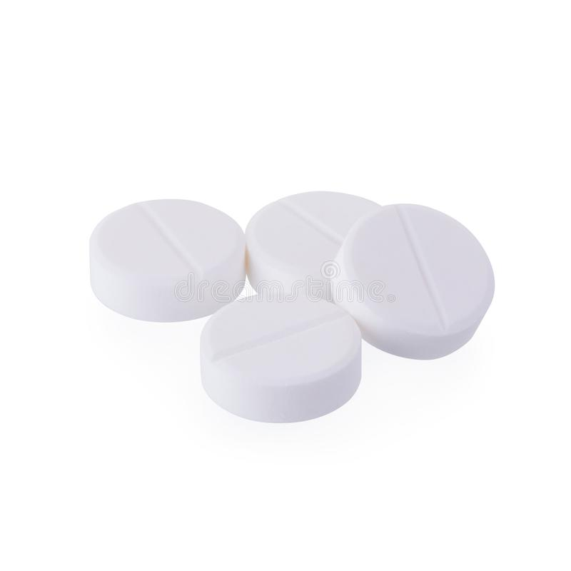 扑热息痛在白色背景隔绝的医学片剂 免版税库存照片