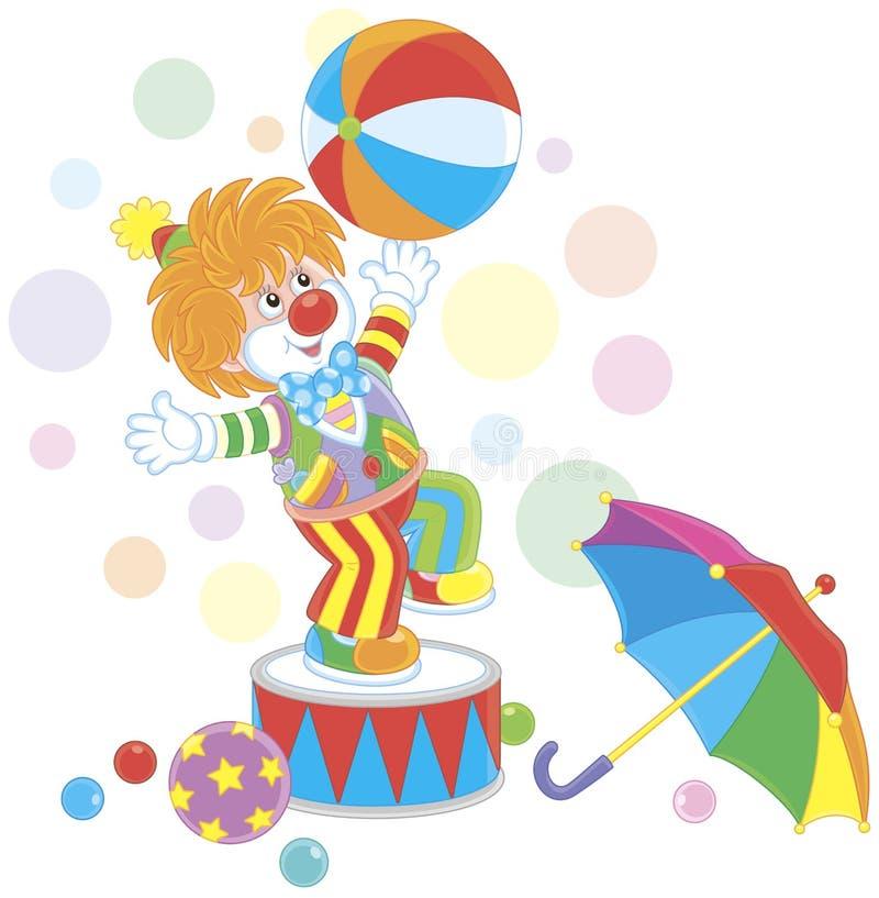 打一个大颜色球的滑稽的红色小丑 向量例证