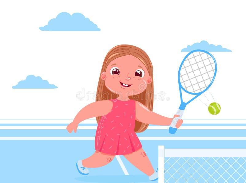 打与raquet的可爱宝贝女孩网球在法院 做体育健康生活 每日惯例 皇族释放例证