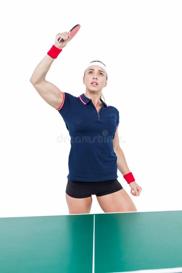 打乒乓球的女运动员 免版税库存照片
