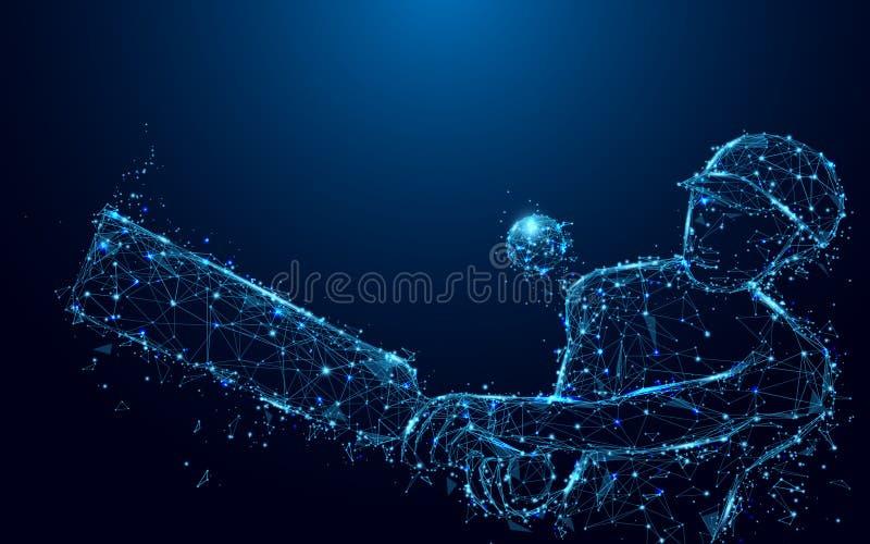 打从形式线和三角,在蓝色背景的点连接的网络的抽象板球运动员墙网球 库存例证