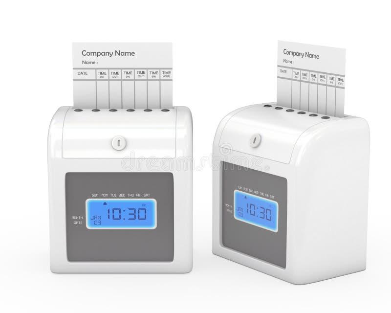 打卡钟机器和工时记录卡与裁减路线 库存例证