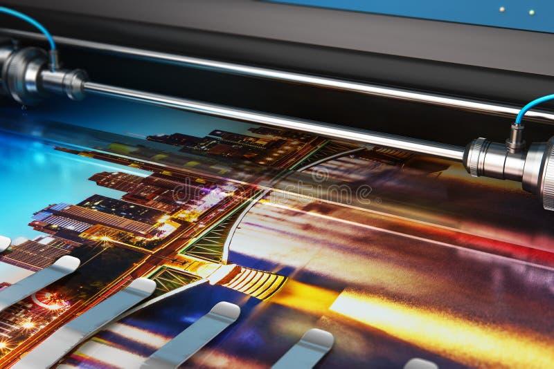 打印在大型格式化颜色绘图员的照片横幅 向量例证