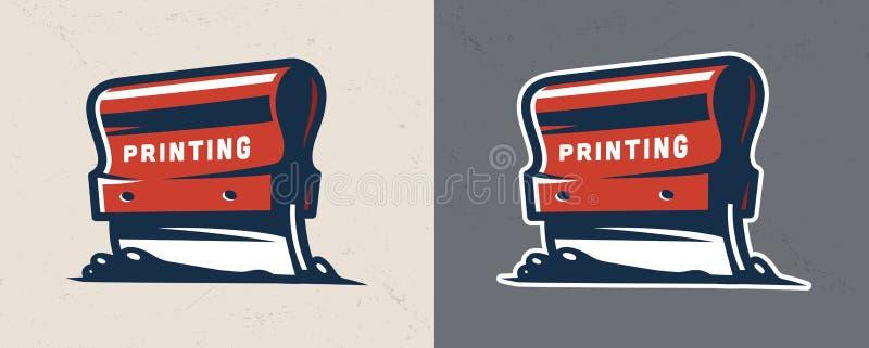 打印工业橡皮刮板的五颜六色的屏幕 库存例证