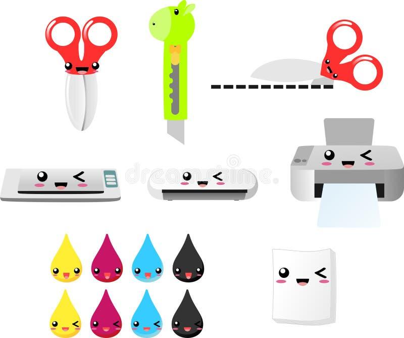 打印并且削减clipart传染媒介EPS,剪刀,打印机,墨水,纸,刀子,剪影机器 向量例证